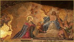 Détail d'une des mosaïques de la façade de la Basilique Saint-Marc, dans le Sestier de San Marco à Venise
