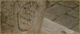 Le blason de la famille Zen, sur l'une des faces du puits de la Corte de le Candele, dans le Sestier du Cannaregio à Venise