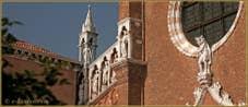 Détail de la façade de l'église de la Madona de l'Orto, dans le Sestier du Cannaregio à Venise.