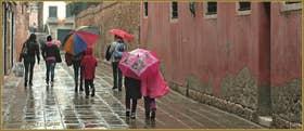 Défilé de parapluies, calle Venier, dans le Sestier du Cannaregio à Venise