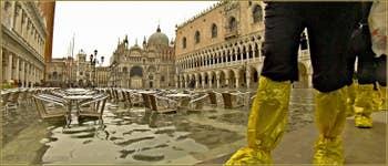 Acqua Alta Venise -La Piazzetta San Marco sous l'eau, dans le Sestier de Saint-Marc à Venise.