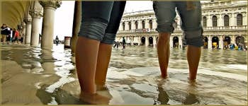 Acqua Alta Venise - Petons dans l'eau, sous les arcades du Palais des Doges, dans le Sestier de Saint-Marc à Venise.