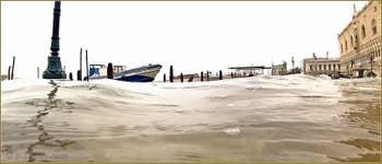 Acqua Alta Venise - La Riva degli Schiavoni, totalement inondée, dans le Sestier du Castello à Venise.