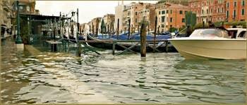 Acqua Alta Venise: La Riva del Carbon, nouveau port à bateaux, dans le Sestier de Saint-Marc à Venise.