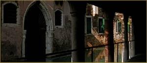 Le rio de la Verona et la porte d'eau du Palazzo Caotorta, vus depuis le Sotoportego San Cristoforo, dans le Sestier de Saint-Marc à Venise.