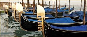Gondoles sous un timide soleil, sur la Riva degli Schiavoni, dans le Sestier du Castello à Venise.