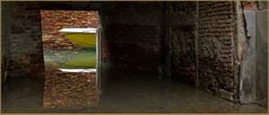 Reflets sur le rio della Pergola, vu depuis la Corte Rota, dans le Sestier de Santa Croce à Venise.