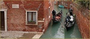 Gondoles sur le rio de San Polo Amalteo, dans le Sestier de San Polo à Venise.