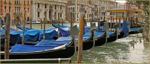 Gondoles sur le Grand Canal devant l'arrêt du Vaporetto de San Silvestro, dans le Sestier de San Polo à Venise.