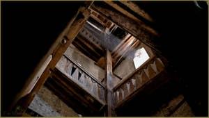 L'intérieur du Campanile de Santa Maria Formosa, avec une montée sans marches, en pente douce, jusqu'en haut du clocher, dans le Sestier du Castello à Venise.