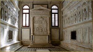 La Chapelle de San Girolamo, Badoer Giustinian, avec ses reliefs de marbre sculptés par Pietro Lombardo et son école à la fin du XVe siècle, dans l'église San Francesco de la Vigna, dans le Sestier du Castello à Venise.