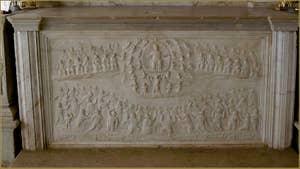 Détail de la Chapelle de San Girolamo, Badoer Giustinian, relief sculpté par Pietro Lombardo et son école à la fin du XVe siècle, dans l'église San Francesco de la Vigna, dans le Sestier du Castello à Venise.