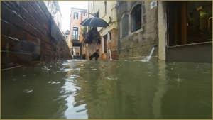 Acqua Alta, Fondamenta del Vin, dans le Sestier du Castello à Venise.