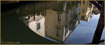 Reflets sur le rio Priuli o de Santa Sofia, dans le Sestier du Cannaregio à Venise.