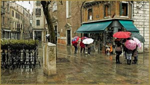 Le Campo dei Santi Apostoli sous la pluie, dans le Sestier du Cannaregio à Venise.
