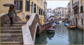 Parapluie et toutou sur le pont dei Preti, dans le Sestier du Castello à Venise.