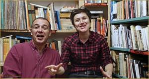 Claudio et Sabine, Librairie Marco Polo, dans le Sestier du Cannaregio à Venise.