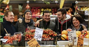 Andrea, Alex, Lino, Daniele, Margherita, fruits légumes Salizada San Canzian Cannaregio