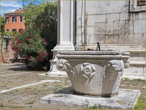 Lauriers rouges et puits de l'église San Giorgio dei Greci