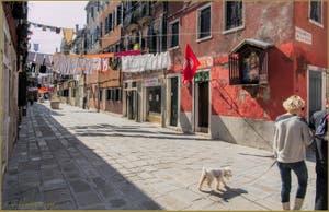 La Corte Nova, son linge, le drapeau du parti communiste et le Christ réunis, dans le Sestier du Castello à Venise.