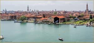 Vue aérienne de Venise depuis l'Arsenal.