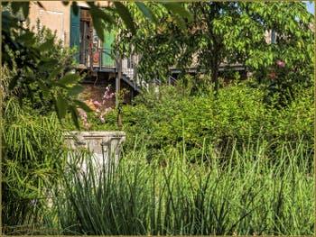 Jardin privé et son puits, dans le Cannaregio à Venise.