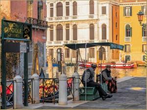 Gondoliers Campo de la Carità, dans le Sestier du Dorsoduro à Venise.