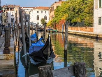 Gondoles sur le Rio de San Lorenzo, dans le Castello à Venise.
