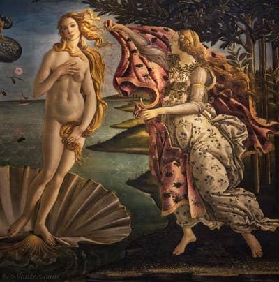 Naissance de Vénus de Botticelli à la Galerie des Offices de Florence en Italie.