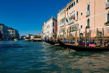 Gondoles sur le Grand Canal de Venise devant le palais de la Ca' d'Oro
