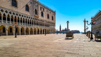 La Piazzetta San Marco e il Palazzo Ducale di Venezia durante il lockdown del Covid-19 Coronavirus a Venezia, Venezia Deserta