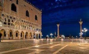 Venise la nuit, le Palais des Doges et la Piazzetta San Marco.