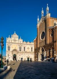 La Scuola Grande San Marco et la Basilique et le Campo San Giovanni e Paolo dans le Castello à Venise.