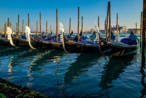 Soleil sur les fers de proue des gondoles du bassin de Saint-Marc à Venise.