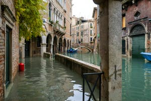Acqua Alta de Novembre 2019 à Venise, Fondamenta Widmann, dans le Cannaregio à Venise.