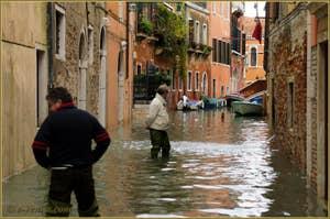 L'acqua alta record du 1er décembre 2008 à San Polo à Venise.
