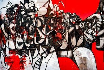 George Condo, Facebook, détail, à la Biennale d'Art de Venise