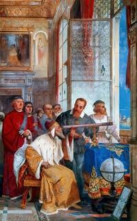 Galilée présente sa lunette astronomique au doge Leonardo Donato, fresque de Giuseppe Bertini, Villa Ponti Varese