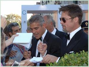 Georges Clooney et Brad Pitt à la 65 Mostra du film de Venise biennale du Cinema 2008