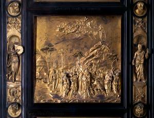 La porte du Paradis, Remise des Tables de la Loi à Moïse, Baptistère de San Giovanni à Florence en Italie