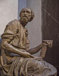 Statue de Saint-Damien par Raffaello da Montelupo, Sacrestia Nuova, la chapelle Médicis de Michel-Ange à Florence en Italie