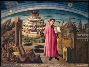 Dante et ses mondes de Domenico di Michelino, huile sur bois de 1465 dans la Cathédrale Santa Maria del Fiore ou Duomo à Florence en Italie
