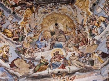 Jésus-Christ Jugement universel, les fresques de la Coupole de Brunelleschi dans la Cathédrale Santa Maria del Fiore à Florence en Italie