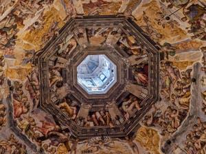 Tabernacle biblique de l'Arche d'Alliance avec les 24 Seigneurs de l'Apocalypse, fresques de la Coupole de la Cathédrale Santa Maria del Fiore ou Duomo à Florence en Italie