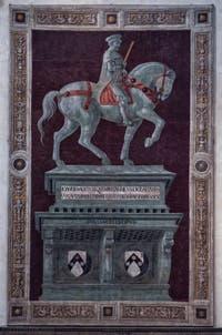 Fresque Statue Sir John Hawkwood dit Giovanni Acuto de la Cathédrale Santa Maria del Fiore, le Duomo à Florence en Italie