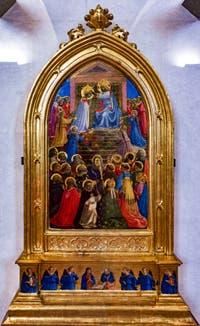 Beato Angelico, Couronnement de la Vierge. Détrempe et feuille d'or sur bois, 1434 dans le couvent de San Marco à Florence en Italie