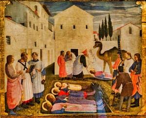 Beato Angelico, enterrement de Saint martyres, détrempe sur bois, XVe siècle, musée de San Marco à Florence en Italie