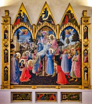 Beato Angelico et Lorenzo Monaco, rétable de Sainte Trinité, déposition de la croix. Détrempe et feuille d'or sur bois, 1432, couvent de San Marco à Florence Italie