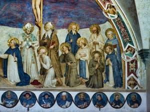 Beato Angelico, Fresque de la Crucifixion et des Saints, cloître Sant Antonin du couvent de San Marco à Florence Italie