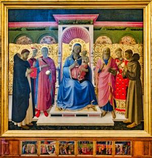 Beato Angelico, Rétable d'Annalena, Vierge en Trône, détrempe et feuille d'or sur bois, XVe siècle, Couvent de San Marco Florence Italie